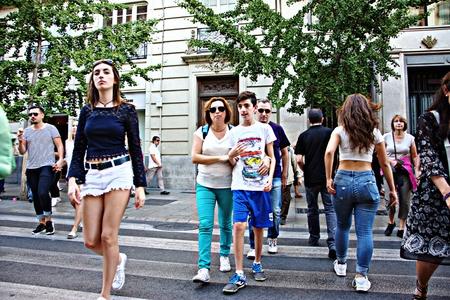 Granada, Spain, 1st October 2016- Urban life, People walking in the street