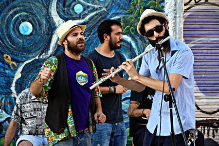 Granada, Spain, 1st October 2016- Urban life, Street band performing