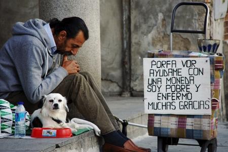 sain: Seville, Sain, 1st November 2016 - Urban life - Beggar in the street
