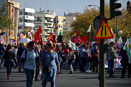 seville: Seville 19th November 2016 - The Dignity March, a social protest