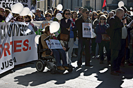 public demonstration: Seville, 15th January 2017. Political demonstration in behalf of the public health service