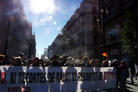 public demonstration: Seville, 15th January 2017. Political demonstration in behalf of public health services Editorial
