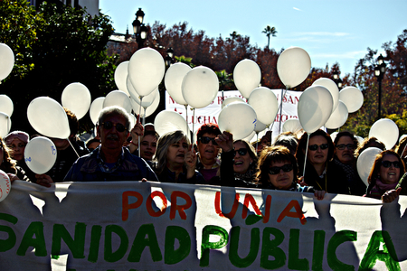 Seville, 15th January 2017. Political demonstration in behalf of public health services Editorial