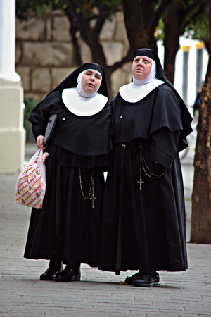 Seville, 20th January 2017 - Urban life - People in the street. Nuns Editorial