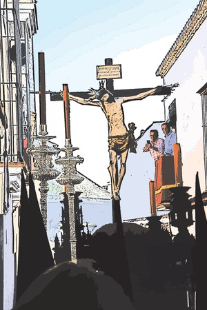 Carmona, Seville, 10th April 2017 - Holy Week procession, the penitents & Christ on the Cross Illustration
