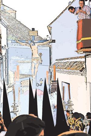 Carmona, Sevilla, 10 april 2017 - Heilige Week processie, de boetvaarders en Christus aan het Kruis