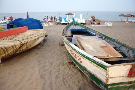 Strand van Torremolinos (Malaga) Carihu8ela Stockfoto