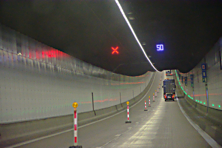 In a tunnel on the road to Bergen op Zoom Banco de Imagens