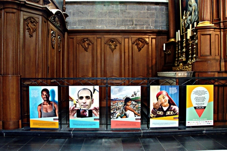 Ghent, Belgium, 16-7-2017 - Amnesty International protest in a church