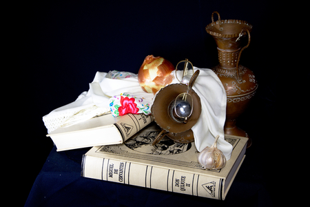 Still life with copper pots and books Stock Photo