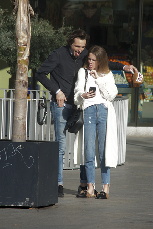 Seville, Spain, 24th January 2018 - Urban life - Couple making a selfie and making faces, too