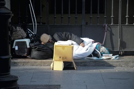 Seville, Spain, 24th January 2018 - Urban life - Homeless Sleeping in the street