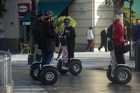 Seville, Spain, 24th January 2018 - Urban life - People with segways