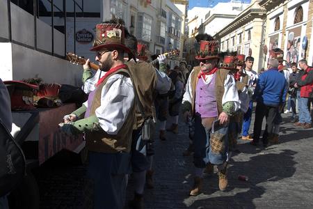 Cadiz, Spain, 11th February 2018 - Cadiz Carnival, groups, people & masks