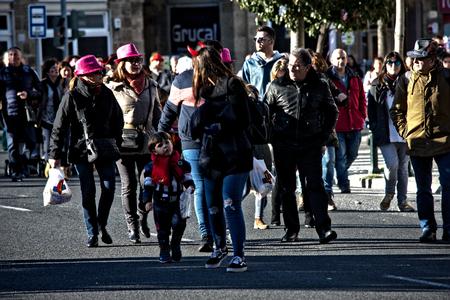 Cadiz, Spain, 11th February 2018 - Cadiz Carnaval, groups, people & masks