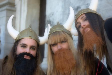 Cadiz, Spain, 11th February 2018 - Cadiz Carnaval, groups, people & masks. Girls disguised as Vikings