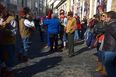 Cadiz, Spain, 11th February 2018 - Cadiz Carnaval, groups, people & masks Archivio Fotografico - 97175613
