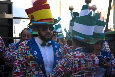 Cadiz, Spain, 11th February 2018 - Cadiz Carnaval, groups, people & masks Archivio Fotografico - 97175614