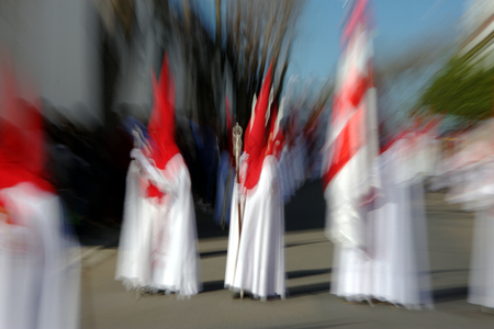 An abstract approach to a Holy Week procession in Carmona (Seville) Archivio Fotografico - 98924437