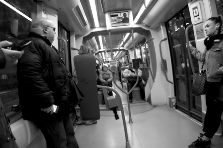 Seville Spain,  9th January 2019. These are people in the intetrior of a trolley car in Seville in Spain