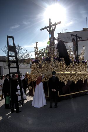Carmona, Seville, 16th April 2019. This is the procession of Saint Blas, in the quarter called Postigo in Carmona (Seville) Редакционное