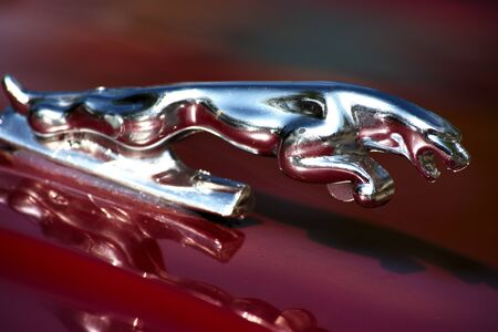 Detail of a car of the brand Jaguar. Carmona, Seville