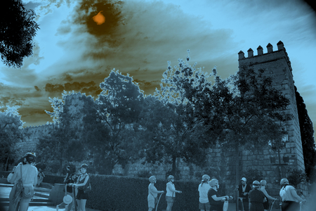 A sunny day by the Alcazar (a moorish castle) in Seville. An infrared picture