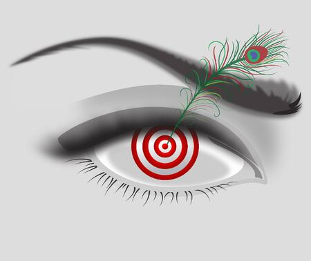 A rather surrealist drawing of an eye with a target and an a feather Vecteurs