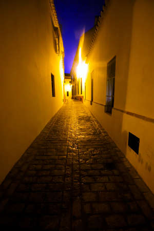 These are the streets of Carmona, early in the morning, just before dawn. Theyare very lonly. This is the very center of Carmona. The lighting is the street lamps Stock fotó