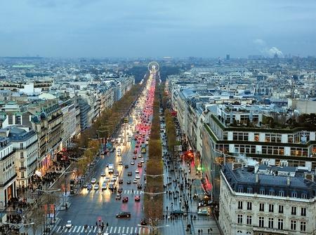 la defense: Avenue des Champs-Elysees, aerial view
