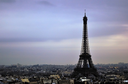 France Eiffel Tower  View of Paris during sunset
