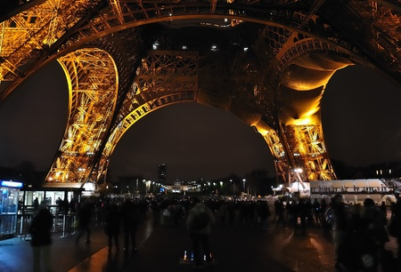 Paris - France Eiffel Tower by night  Lot of lights  Editorial