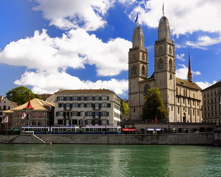 grossmunster cathedral: Zurich switzerland  Old town view  Historic place, and city of the bankers  Editorial