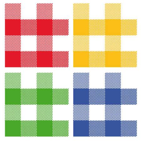 4 colores de algod�n a cuadros: rojo, azul, verde, amarillo