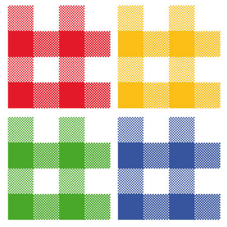 4 colors of gingham: red, blue, green, yellow