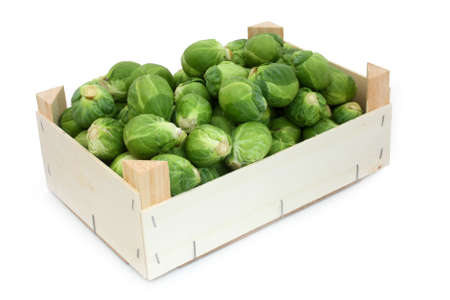 Crate of Brussels sprouts Stock Photo