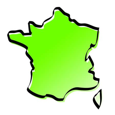 francia: Mapa estilizado de Francia