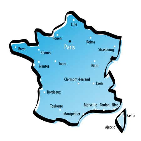 marseille: Gestileerde kaart van Frankrijk met grote steden Stock Illustratie