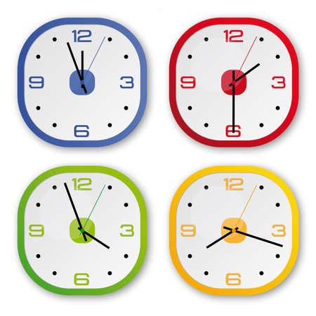 cronograma: 4 relojes de diseño en 4 colores: azul, verde, rojo, amarillo Vectores