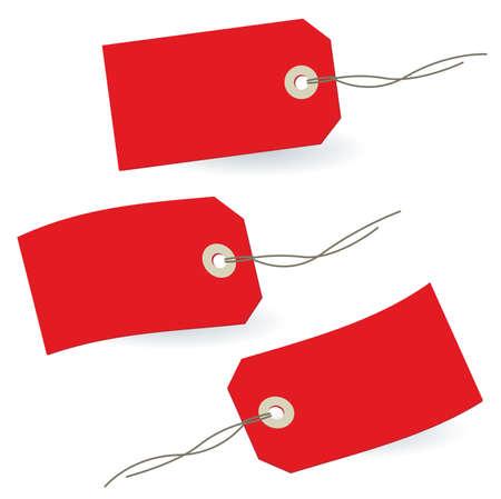 balise: 3 rouges stylis�es �tiquettes vierges