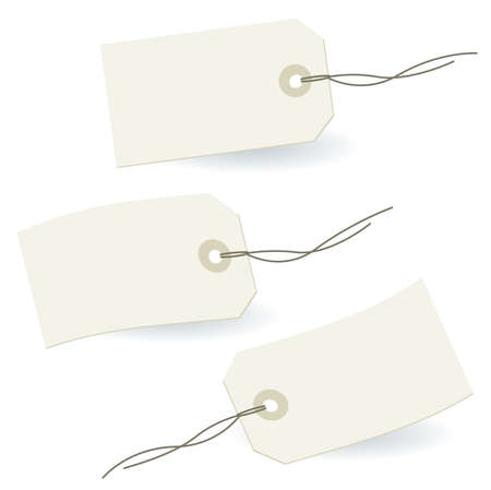 3 off white stylized blank labels
