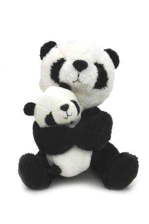 Peluche - pandas madre y el ni�o Foto de archivo