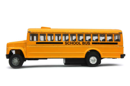 Yellow school bus toy (on a white background)