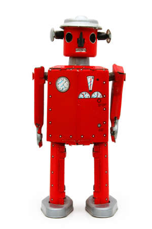 Red robot tin toy (isolated)