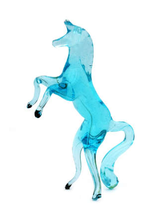 Blue glass prancing horse (isolated)
