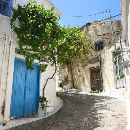 Typical street of Kritsa village in Crete island, Greece