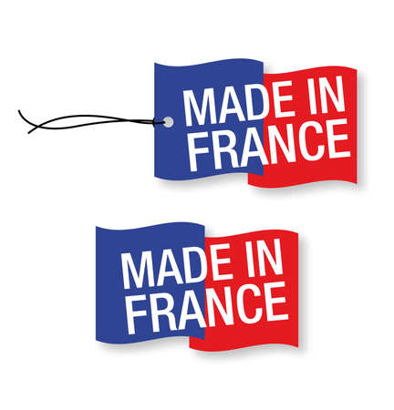 brand tag: Made in France labels x 2 (isolated)