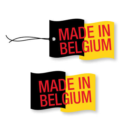 "made in: ""Made in België"" labels x 2 (geïsoleerde) Stock Illustratie"