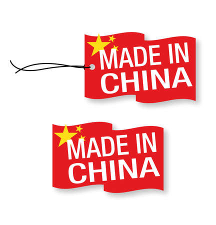 protectionism: Made in China labels x 2 (isolated) Illustration