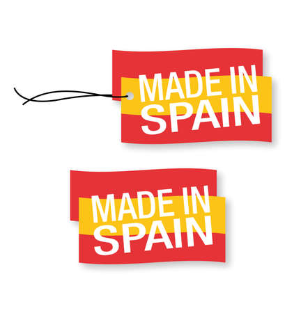protectionism: Made in Spain labels x 2 (isolated)